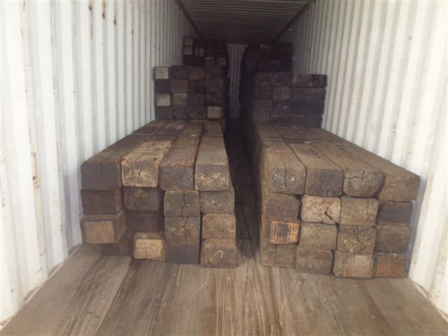 Used Rail Road Ties in Container